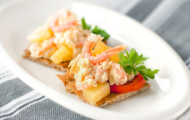 Appetizer of shrimp and pineapple