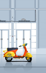 retro scooter in garage