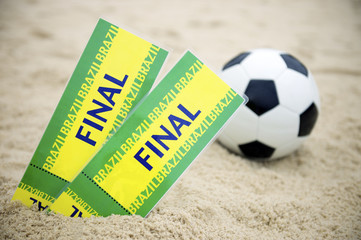 Two Brazil Final Tickets Football Soccer Ball Beach