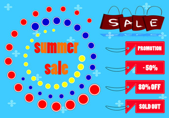 summer sale text and tag of sale marketing