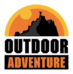 Mountain adventure sign or label, vector