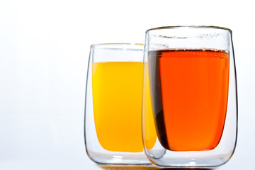 two glasses with drinks