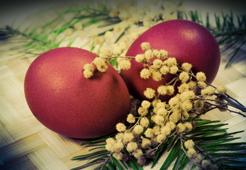 Easter eggs . Photo in retro style