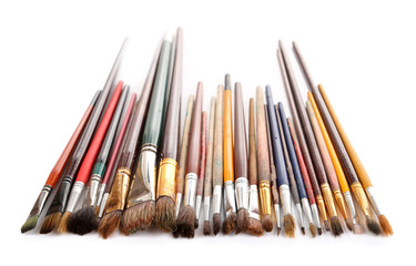Many brushes isolated on white
