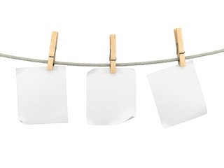 Paper on a rope with clothespin
