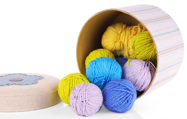 Decorative box with colorful yarn for knitting isolated on