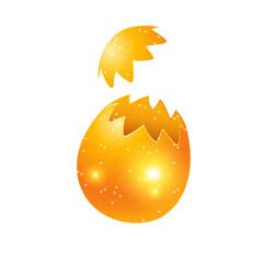 Golden cracked egg.
