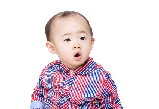 Asia baby boy feel suprise