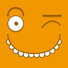 A Vector Cute Cartoon Orange Winking Face