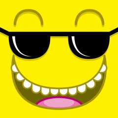 A Vector Cute Cartoon Yellow Face With Sunglasses