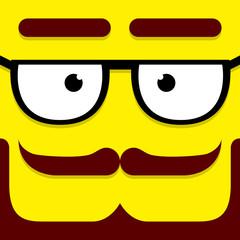 A Vector Cute Cartoon Yellow Hipster Face
