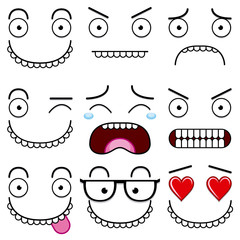 A Cartoon Set Of Different Cute Faces