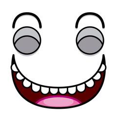 A Vector Cute Cartoon White Laughing Face