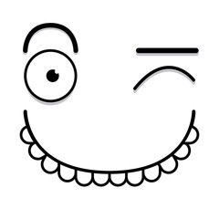 A Vector Cute Cartoon White Winking Face