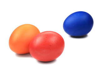 red orange and blue easter eggs
