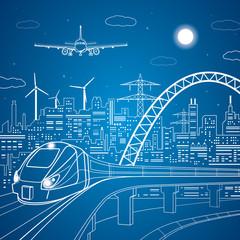 Vector train on the bridge, background of the light city, plane