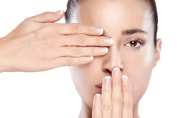 Beautiful Spa Girl with Hands on Her Face. Skincare concept