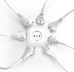 Many Electric Plugs are Fighting for Power from the Wall Socket