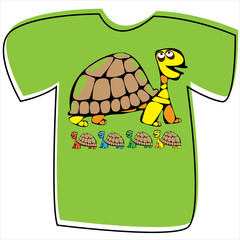 T-shirt with a turtle on white background