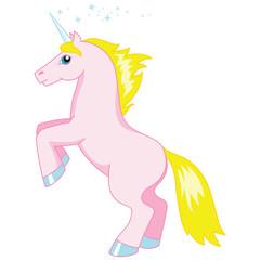Vector illustration of cartoon pink unicorn isolated on white