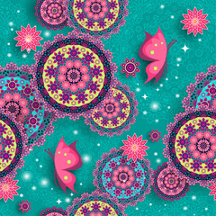 Geometric floral pattern with lights
