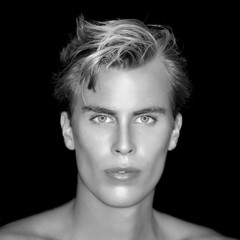 Handsome blond man on Black Background