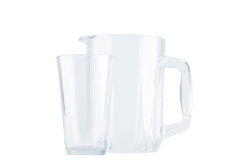 Empty glass and pitcher for drinks