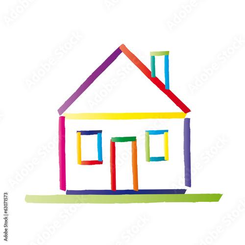 buntes haus mit satteldach eigentum eigenheim einfamilienhaus immobilie vektor abstrakt. Black Bedroom Furniture Sets. Home Design Ideas