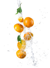 Wall Mural - Pieces of oranges in water splash