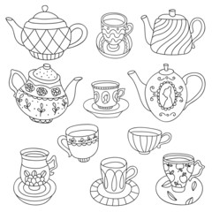 Cute cartoon vector vintage set of cups and teapots