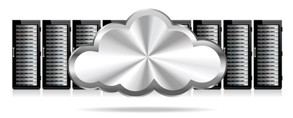 Row of Network Servers with Cloud Icon