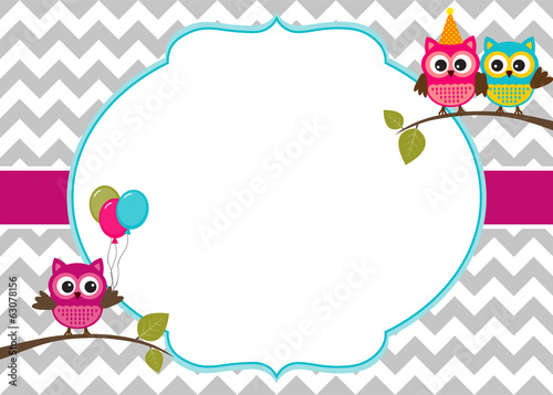 Owl party invitation card template with white frame stock image owl party invitation card template with white frame stopboris Choice Image