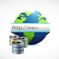 database servers and internet globe illustration