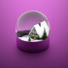 Christmas snow sphere with house and trees
