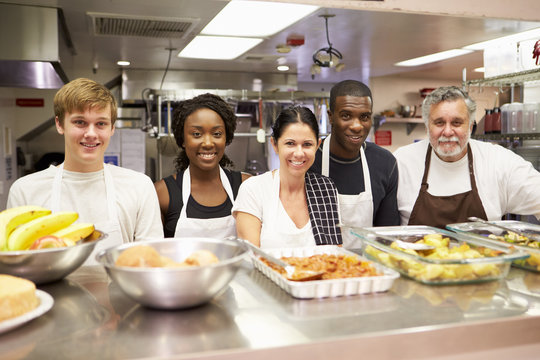 Portrait Of Kitchen Staff In Homeless Shelter