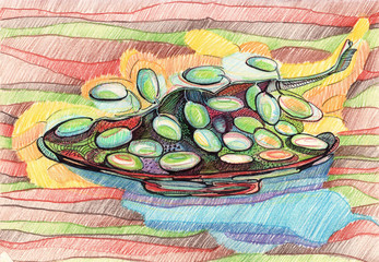 pencil doodle grapes on plate color strokes