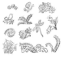 elements of nature - vector illustration