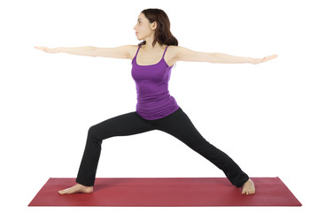 Woman in Warrior II Pose during Yoga