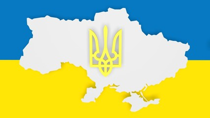 ukraine outline map and flag