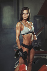 Wall Mural - Woman with dumbbells in gym