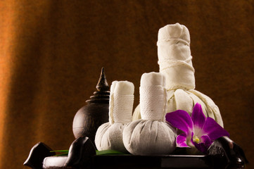 Spa herbal compressing ball with wooden casket and orchid