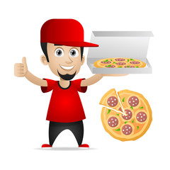 Man holds pizza and showing thumbs up
