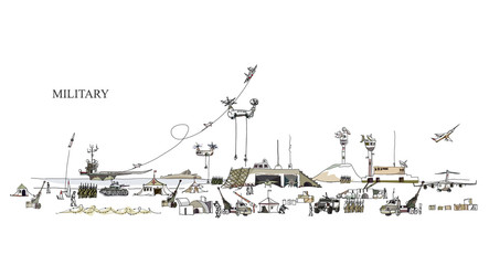 Army on move, Military illustration