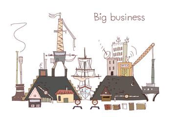 Building a ship, industrial Dock illustration