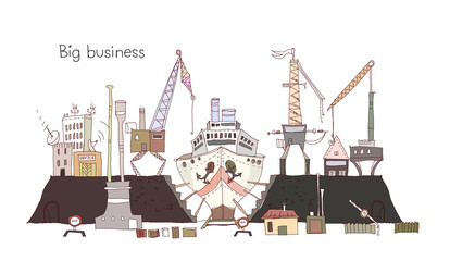 Building a ship, industrial Dock illustration