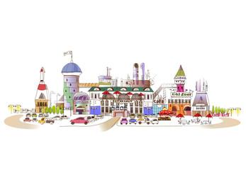 Shopping centre illustration with cafes, restaurants, cinema