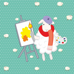 lamb artist over green background