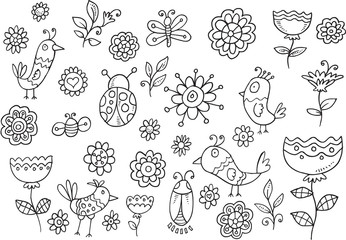 Door stickers Cartoon draw Springtime Bird Flower Vector Doodle Set