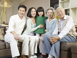 portrait three-generation asian family
