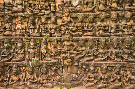 Bas-relief sculptures at the Terrace of the Leper King, Siemreap